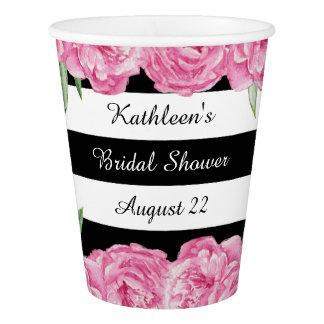 Bridal Wedding Shower Black Stripes Floral Glam Paper Cup