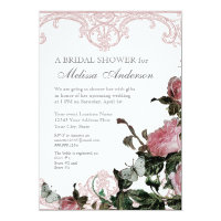 Bridal Wedding Shower Invite, Trellis Rose Vintage Invitation