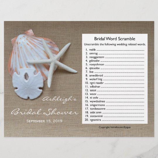 bridal wedding shower word scramble game