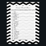 "Bridal Wedding Shower Word Scramble Game Letterhead<br><div class=""desc"">A word scramble is a fun game for a bridal shower. This wedding word scramble game is modern and fun -- featuring a black and white chevron pattern in the background, the word scramble consists of 20 wedding related words for your bridal shower guests to unscramble. A fun game for...</div>"