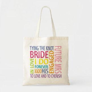 Bridal Wedding Words Text Design Bride Tote Bag