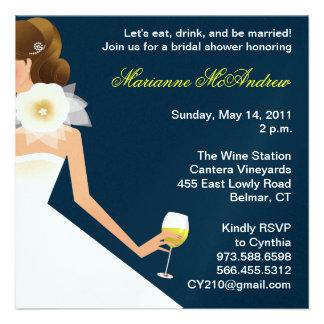 Bridal wine brunette on navy personalized invite
