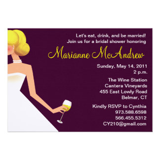 Bridal wine invitation purple with pearls