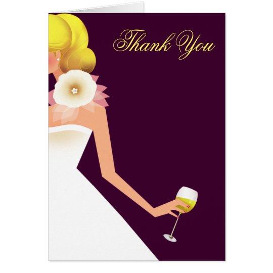 bridal wine invitation thank you w/o flower