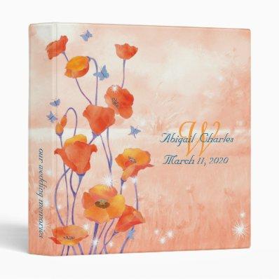 "BridalHeaven Poppy Wedding Photo Book Albums  1""  3 Ring Binder"