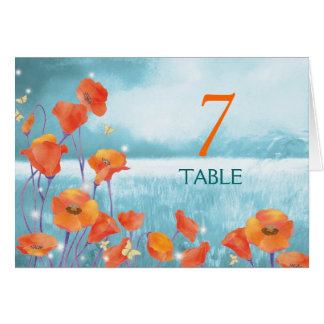 BridalHeaven Red Poppy Wedding Table Number Cards