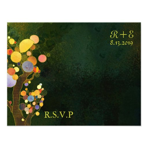 BridalHeaven Whimsical Trees Black RSVP(4.25x5.5) Custom Announcement