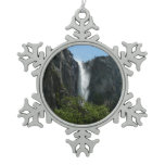 Bridalveil Falls at Yosemite National Park Snowflake Pewter Christmas Ornament