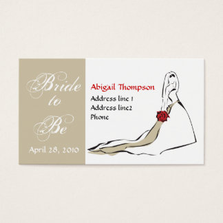 bride1, taupe square, Bride, to, Be, April 28, ... Business Card