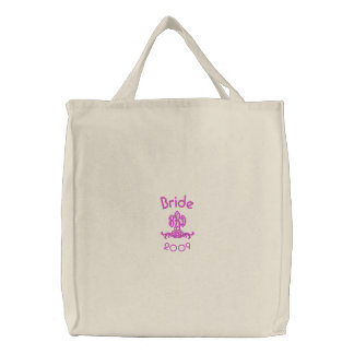 Bride - 2009-with your initials embroidered tote bag