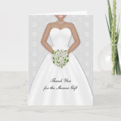 Bride, African American Bridal Shower Thank You