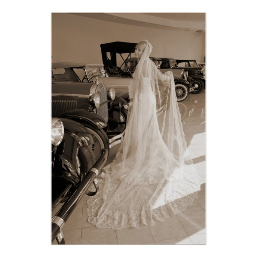 Bride And Antique Cars Posters