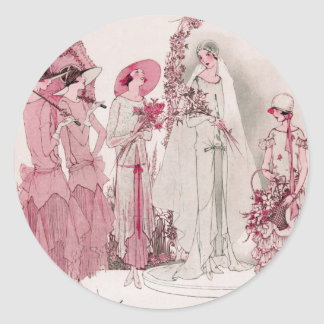 Bride and attendents classic round sticker