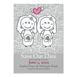 Bride and Bride Cartoon Save The Date Announcement