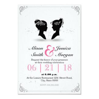 """Bride and Bride - Lesbian wedding Invitación 3.5"""" X 5"""""""