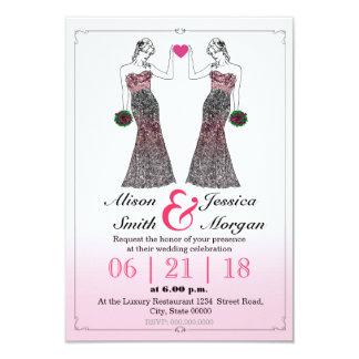 """Bride and Bride - Lesbian wedding invitation Invitación 3.5"""" X 5"""""""