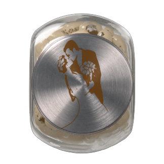 Bride and Groom 01 Sepia Glass Jar