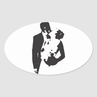 Bride and Groom 2 Oval Sticker