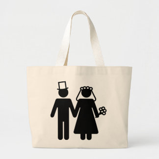 Bride and Groom - Add Your Own Text Canvas Bag