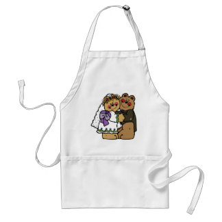 Bride and groom bears adult apron