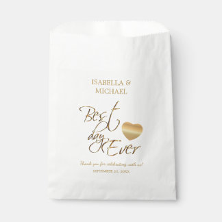 Bride and Groom Best Day Ever - White and Gold Favor Bag