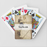 "Bride and groom bicycle playing cards<br><div class=""desc"">Custom and Bicycle playing cards with textured photograph of a bride and her groom. Bring fun to a &quot;save the date-&quot;,  bachelor-,  bachelorette party! Customize it to your needs. Add a special and personal touch with a date,  name,  etc.</div>"