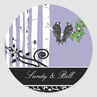 Bride and Groom Birch Tree Vintage Birds Sticker sticker