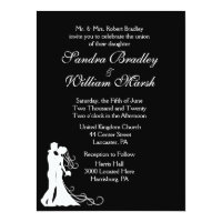 Bride and Groom Black and White 6.5x8.75 Paper Invitation Card