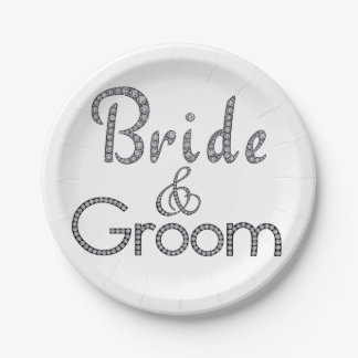 Bride and groom bling paper plates
