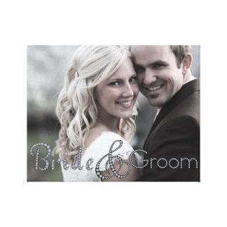 Bride and groom bling photo canvas