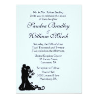 Bride and Groom Blue 6.5x8.75 Paper Invitation Card