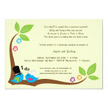 Bride And Groom Blue Birds Of Happiness 5x7 Paper Invitation Card