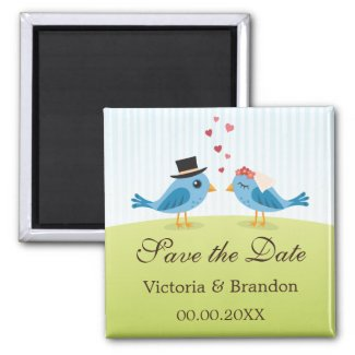 Bride and groom blue birds Save the Date magnet magnet