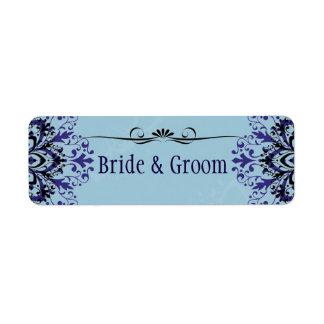 Bride and Groom Blue floral label