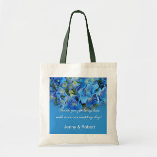 Bride and groom blue flower wedding thank you budget tote bag