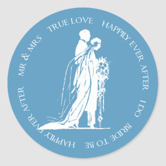 Bride and Groom Blue Happily Ever After Sticker