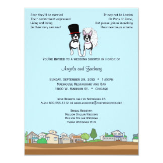 Bride And Groom Boston Terrier Wedding Shower 4.25x5.5 Paper Invitation Card