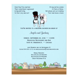 Bride And Groom Boston Terrier Wedding Shower Personalized Announcement