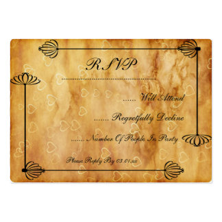 Bride and Groom Boxes, Scroll work on Hearts Large Business Cards (Pack Of 100)