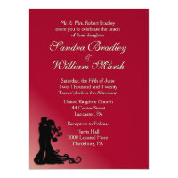 Bride and Groom Burgundy 6.5x8.75 Paper Invitation Card