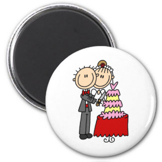 Bride And Groom By The Wedding Cake Magnet