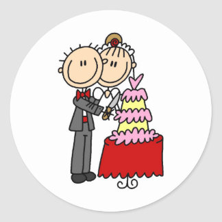 Bride And Groom By The Wedding Cake Sticker