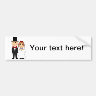 Bride and groom cartoon bumper sticker