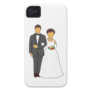 Bride and groom cartoon iPhone 4 cases