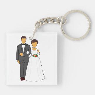 Bride and groom cartoon acrylic key chains