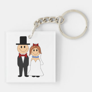 Bride and groom cartoon acrylic keychains