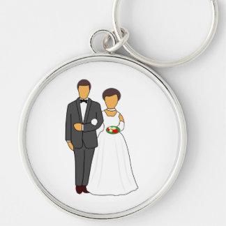 Bride and groom cartoon key chain