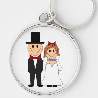 Bride and groom cartoon keychains