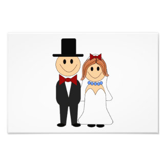 Bride and groom cartoon photographic print