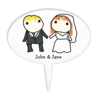 Bride and Groom Cartoon Wedding Cake Topper